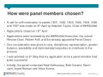 how were panel members chosen