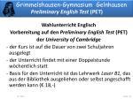 grimmelshausen gymnasium gelnhausen preliminary english test pet