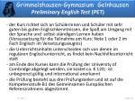grimmelshausen gymnasium gelnhausen preliminary english test pet1