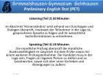 grimmelshausen gymnasium gelnhausen preliminary english test pet4