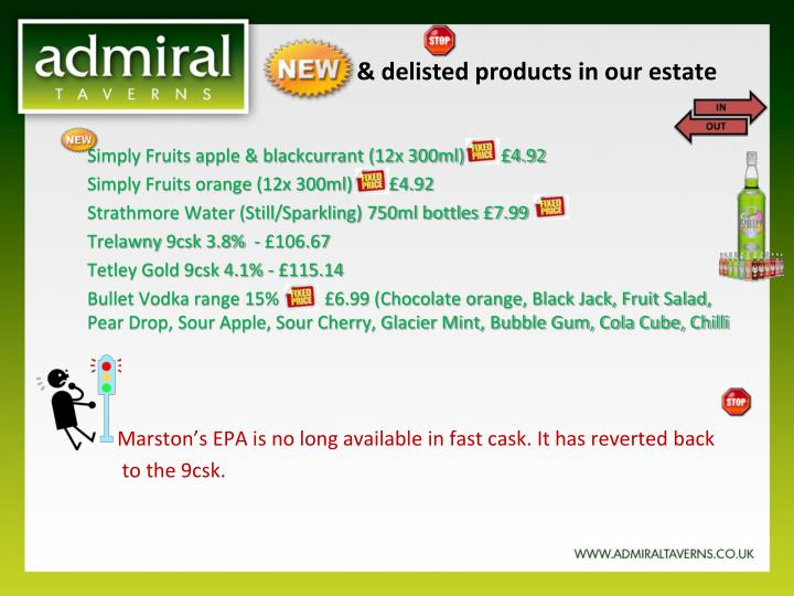 new delisted products in our estate n.