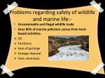 problems regarding safety of wildlife and marine life