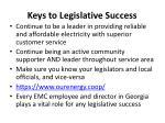 keys to legislative success