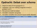 opdracht debat over schema