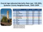 overall age adjusted mortality rate per 100 000 spokane county neighborhoods 2005 2009