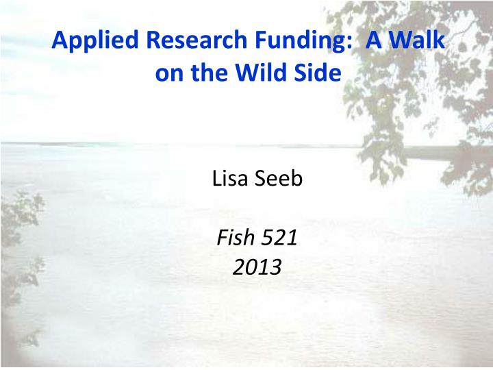 applied research funding a walk on the wild side n.