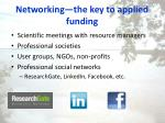 networking the key to applied funding