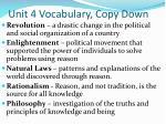 unit 4 vocabulary copy down