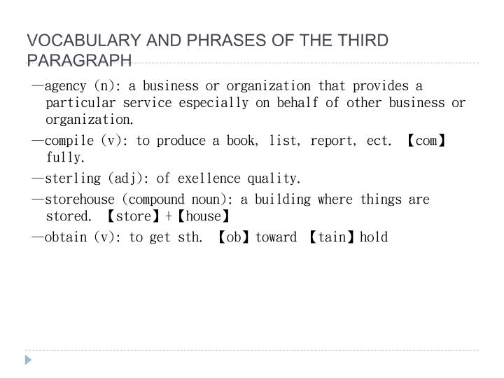 VOCABULARY AND PHRASES OF THE THIRD PARAGRAPH