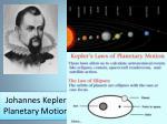 johannes kepler planetary motion