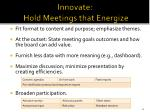 innovate hold meetings that energize