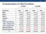 characteristics of csu enrollees