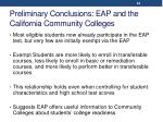 preliminary conclusions eap and the california community colleges