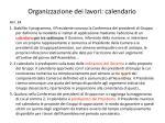 organizzazione dei lavori calendario