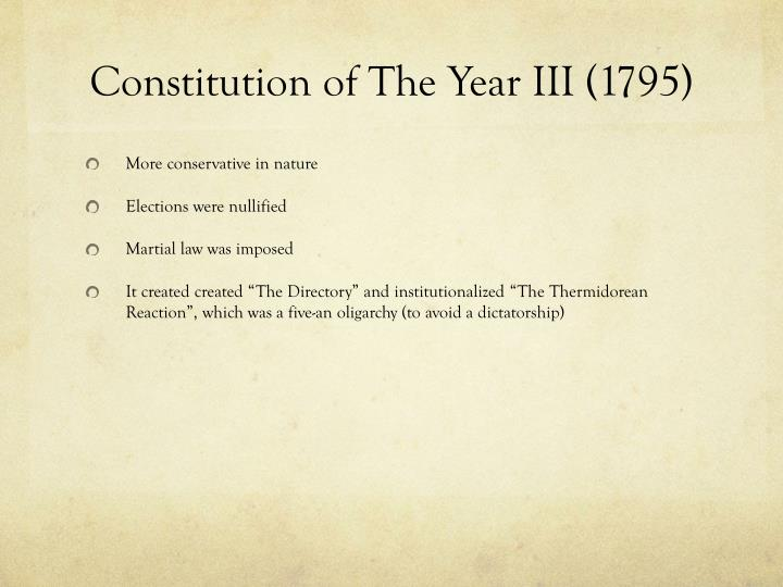 Constitution of the year iii 1795