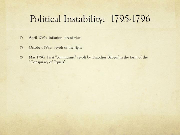 Political Instability:  1795-1796