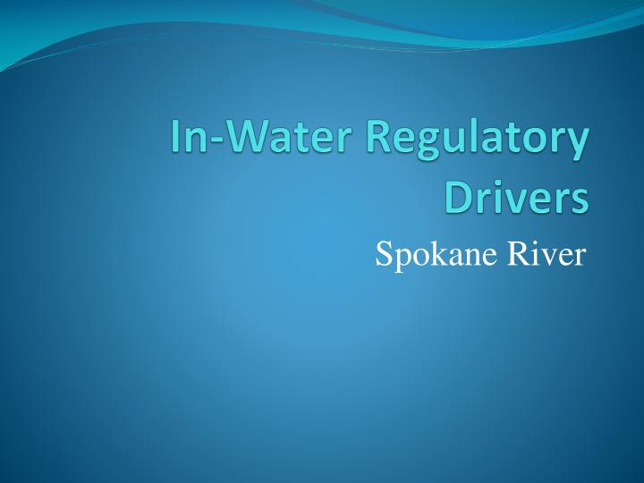 in water regulatory drivers n.