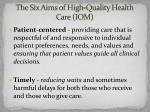 the six aims of high quality health care iom1