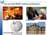 can we build redd without institutions