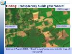 finding transparency builds governance