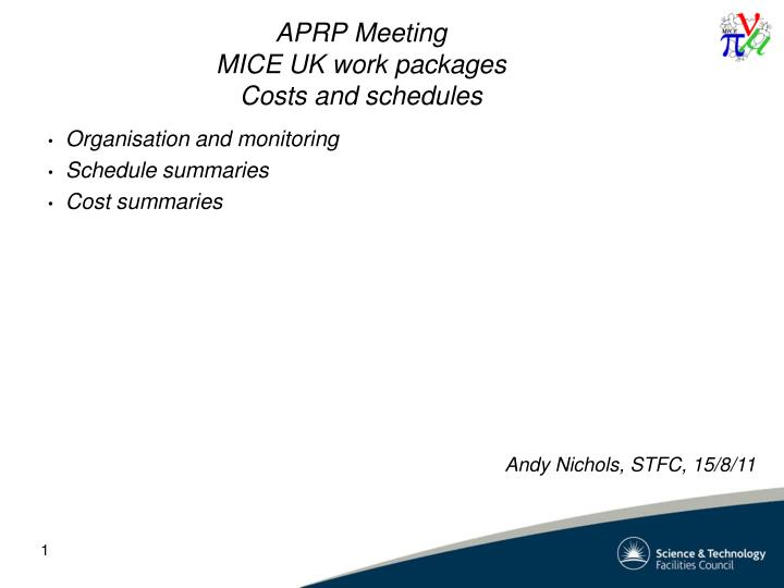 aprp meeting mice uk work packages costs and schedules n.