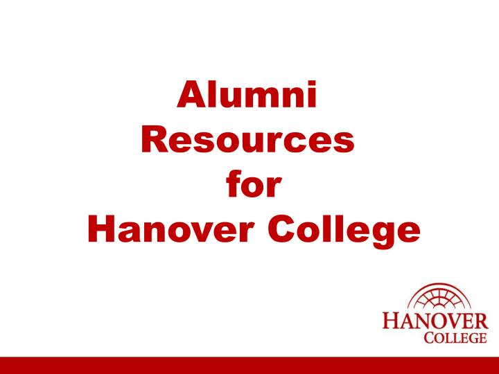 alumni resources for hanover college n.
