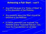 achieving a fair start con t