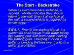 the start backstroke