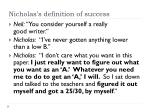 nicholas s definition of success