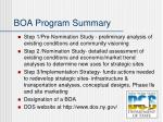 boa program summary
