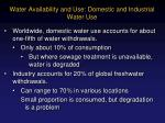 water availability and use domestic and industrial water use