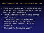 water availability and use quantities of water used