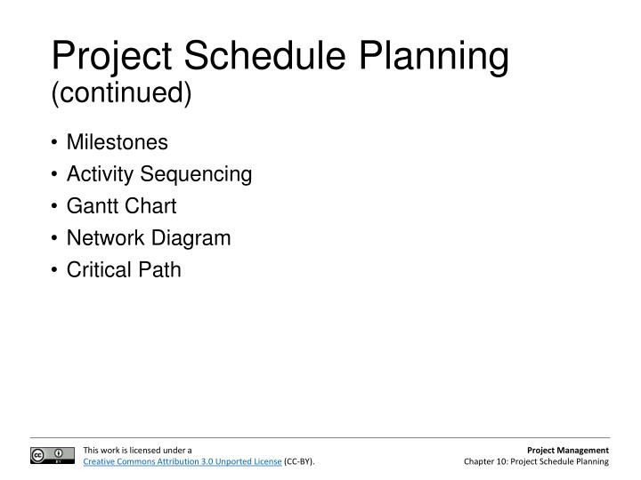 Ppt project schedule planning powerpoint presentation id2234666 project schedule planning continued milestones activity sequencing gantt chart network diagram ccuart Image collections
