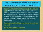 the government of u k has issued several acts to combat pollution