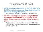 tc summary and roce