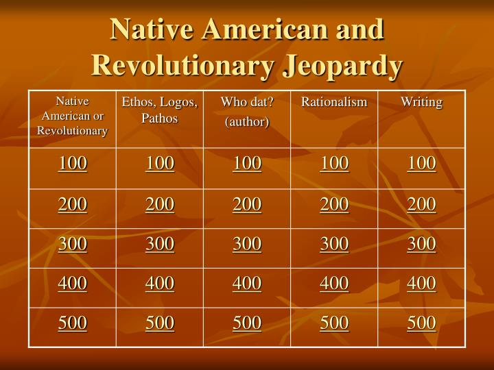 native american and revolutionary jeopardy n.