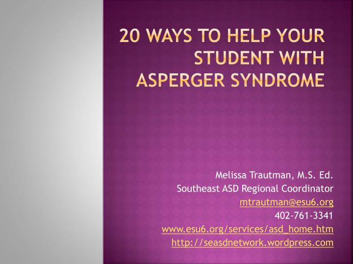 20 ways to help your student with asperger syndrome n.