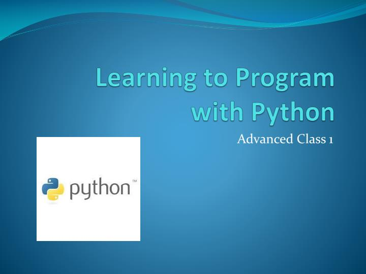 learning to program with python n.