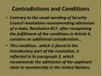 contradictions and conditions