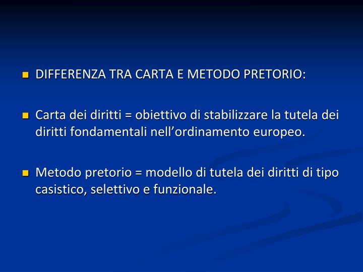 DIFFERENZA TRA CARTA E METODO PRETORIO: