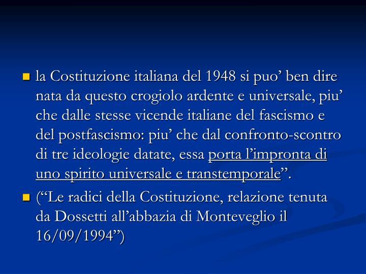 la Costituzione italiana del 1948 si