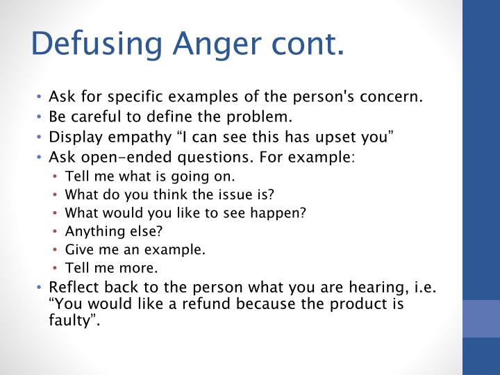 Defusing Anger cont.