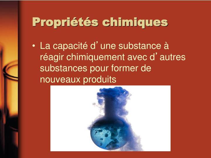 Propri t s chimiques