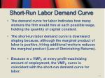 short run labor demand curve