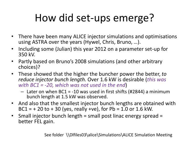 How did set-ups emerge?