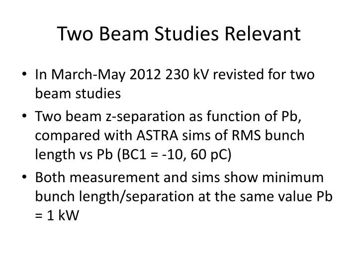 Two Beam Studies Relevant