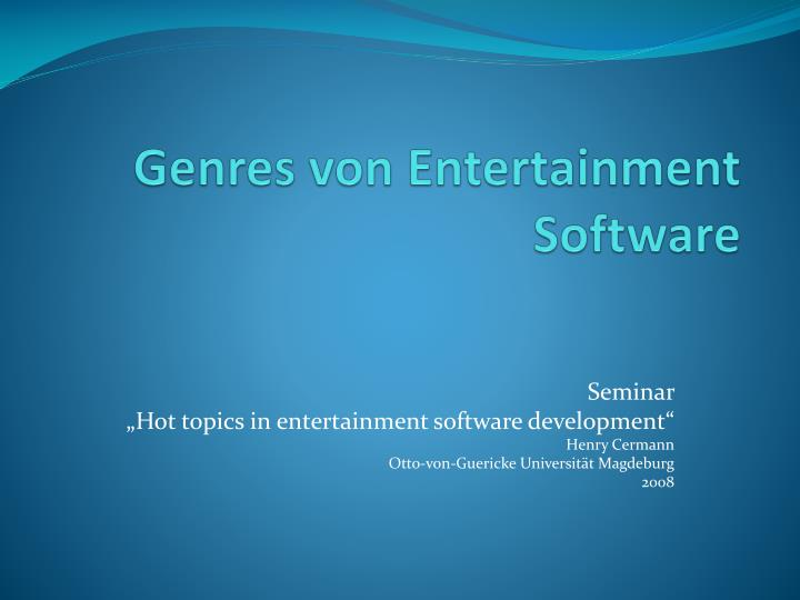 genres von entertainment software n.