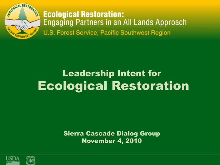 ecological restoration using an all lands approach n.