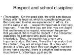 respect and school discipline