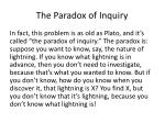 the paradox of inquiry1